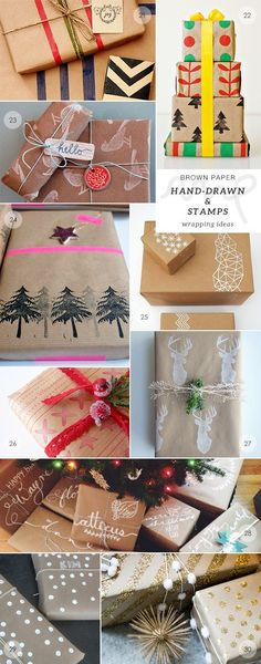 40 brown paper gift wrapping ideas picks by My Paradissi- hand-drawn and stamps by dora