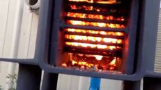 Rocket stove burning on pellets 15 hour burn time on three quarters of a...