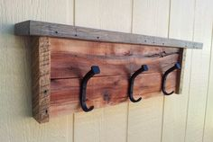 Reclaimed Pallet Wood Coat Rack / Hat Rack / Natural / Rustic / Wall Mounted Coat Rack / Coat Hook / Bent Rail Road Spikes    Dimensions: 24 1/2W x 8H