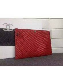 Chanel A82254 Large Quilting Lambskin Zipped Pouch Red Fall-Winter 2015/16