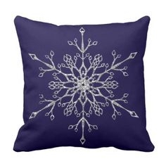 #simple - #Faux Silver Glitter Snowflake on Midnight Blue Throw Pillow