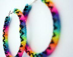 Neon-Rainbow Native American Beaded Hoop Earrings