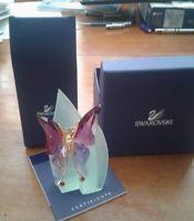 MIB Swarovski Crystal Paradise BUTTERFLY ASTARA FIGURINE & NEW LEAF DISPLAY