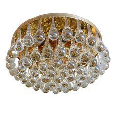 1940's vintage brass and glass teardrop flush mount light. love