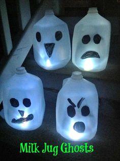 #Repurposed Milk Jugs turned #Halloween ghosts!
