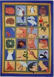 Includes pattern and fabric for the top of the quilt. Animal Quilts, Australian Animals, Baby Quilts, Quilt Blocks, Applique, Kids Rugs, Blanket, Christmas Trees, Fabric