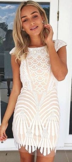 Cream + White Lace Dress