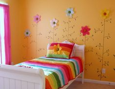 Bright Colorful Flowers Wall Stickers Decals Decoration in Small Kids Bedroom Decorating Design Ideas