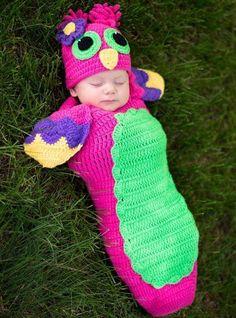 Crochet Owl Cocoon
