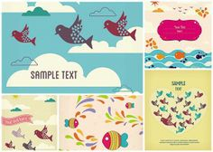 Vivid greeting card with fish and birds vector - Free Download - CGIspread