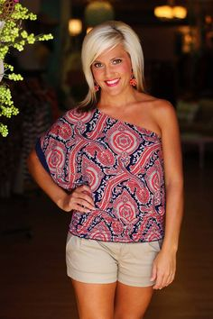 """Charlotte"" One Shoulder Top in Red.  $26.50 