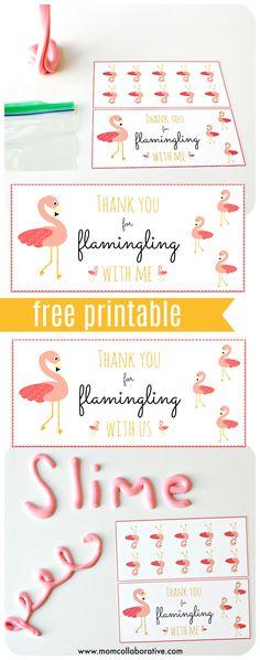 FREE printable Flamingo party favors, DIY Flamingo birthday party favor slime, Flamingo pool party idea! Flamingo flubber!
