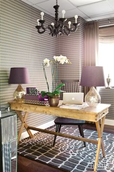 Atlanta Homes & Lifestyles - dens/libraries/offices - World Market Campaign Desk, plum wallpaper, purple wallpaper, plum geometric wallpaper...