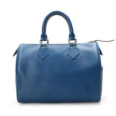 Louis Vuitton Speedy 25 Epi Handle bags Blue Leather M43015