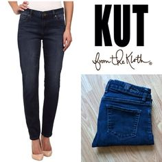 """KUT Diana Skinny denim dark wash Dark denim whiskered with faded seams. Mid-rise. Skinny leg. Good preloved condition. Elastic has a slight pucker when off but looks great on! Price is reflected. 98/2 cotton, spandex. 30"""" inseam. 8.5"""" rise. 15.25"""" waist laying flat. Size 6 Kut from the Cloth Jeans Skinny"""