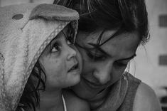 Portrait of a Kurdish woman and her daughter after bath...  Katsikas Refugees Camp... Ioannina, Greece
