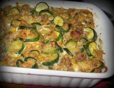 Sausage Stuffed Casserole and Homemade Bread Recipes - It's So Very Cheri Zucchini Casserole, Sausage Casserole, Casserole Dishes, Lunch Recipes, Dinner Recipes, Vegetarian Dinners, Family Meals, Main Dishes, Food Porn