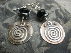 Sterling silver earrings fused oxidised and linked with by Inofa