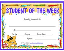 printable student of the week certificates Printable Certificates, Award Certificates, Certificate Templates, Student Of The Week, Kids Learning Activities, Free Printables, Awards, Map, School