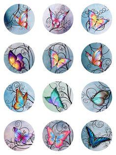 Butterflies Swirls Pastel Watercolor Paper Digital by pixeltwister Bottle Cap Art, Bottle Cap Crafts, Bottle Cap Images, Bottle Cap Jewelry, Vogel Silhouette, Pastel Watercolor, Resin Pendant, Paper Background, Digital Collage