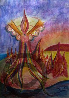 Den handlar vad titeln handlar om kärleksfull Passion hur den hämtar sin näring och hur vam och ljus den är. Tavlan är med ram 103 x 73 cm stor, målat med akvarell och bläck och kostar 4800 kr Passion