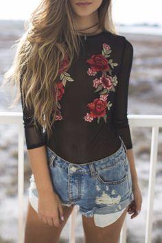 Dangerous Love Black Mesh Floral Bodysuit