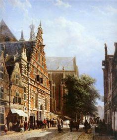 Vleeschhal+and+Grote+Kerk+in+Haarlem+-+Cornelis+Springer