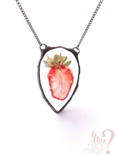 Real strawberry slice necklace. 3d strawberry by IsThisHandmade
