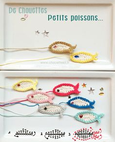 Cute little fish - crochet graph tutorial by chouette kit Appliques Au Crochet, Crochet Motifs, Crochet Diagram, Crochet Chart, Crochet Stitches, Crochet Patterns, Crochet Mignon, Crochet Fish, Knit Or Crochet