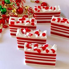 Candy Cane Handcrafted Soap, Handmade Glycerin Soap, Christmas Soap, Stocking stuffer We think Candy Handmade Soap Recipes, Handmade Soaps, Christmas Soap, Christmas Treats, Soap Melt And Pour, Peppermint Soap, Glycerin Soap, Home Made Soap, Holiday Time