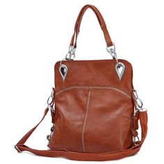Erina - Womens fashion brown shoulder handbag. brown shoulder #bag design, top double handle, approx 37x32x9cm, top width 30cm, handle 19cm drop, approx 0.70kg, adjustable & removable shoulder strap, 1 x main compartment with zip closure, 1 zip pocket, 1 mobile phone pocket, 1 ID pocket, interior flower pattern, external zip pocket on the rear. $79.00 - Out of stock