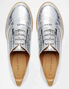 Image 3 of New Look Komedian Silver Brogue Flat Shoes