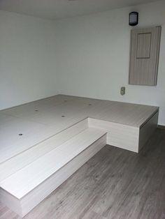 New bedroom wood floor decor platform beds Ideas Diy Platform Bed Plans, Platform Bedroom, Platform Bed With Storage, Platform Beds, Condo Interior, Home Interior Design, Dream Rooms, Dream Bedroom, Bedroom Wood Floor