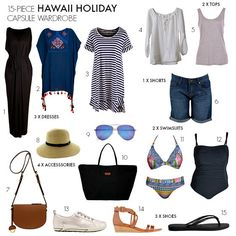 15-piece capsule travel wardrobe   What to pack for Hawaii