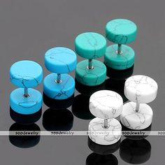 Pair 16G Howlite Turquoise Gemstone Barbell Fake Plug Expander Ear Stud Earrings in Jewelry & Watches,Fashion Jewelry,Body Jewelry | eBay