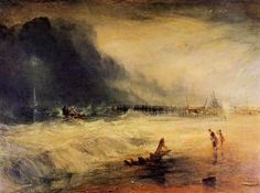 Turner, Joseph Mallord William: Ein Rettungsboot mit Manby-Vorrichtung fährt zu einem gestrandeten Schiff, das Notsignale (blaue Lichter) aussendet (Life-Boat and Manby Apparatus going off to a Stranded Vessel making Signal (Blue Lights) of Distress)
