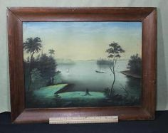 Early 19thC Antique Folk Art Landscape Charcoal & Marble Dust Drawing NR