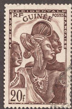 "French Guinea 1938-40 20fr chocolate ""Guinea Women"""