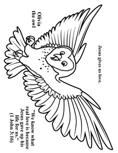 Cave Quest Day 4 preschool coloring page Olivia the Owl.