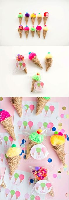 Mini Pom Pom Ice Cream Cone Favors. So cute for a kids party, summer craft or ice cream social!