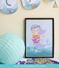 Lámina para decorar - kit de fiestas - sirenas mágicas - Mermaid Printable Birthday Party Package