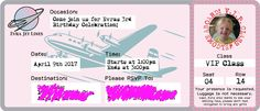 """This is an invitation to a birthday that had a transportation them. I took the size and style of old airline tickets to pick out the layout, fonts and size of this invitation which was printed onto a thin cardstock to add to the ticket effect.  I also created the """"Evra Jet Lines"""" logo.  This invitation was well recieved and I'm still getting compliments on it."""
