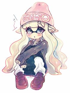 This is Mira-Lynn. She's an inkling who likes to hang out at nightclubs. She often gets into trouble and runs away from it, too. Her rebellious personality can sometimes be a bit of a problem. Her favorite weapon is the Blaster.