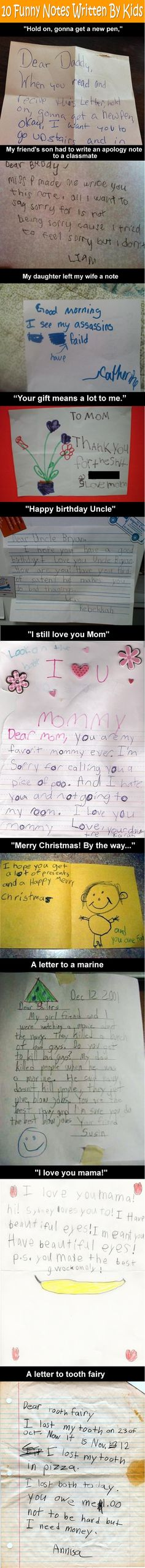 10 Funny Notes Written By Kids. Omg, I'm crying. I can't wait to be a teacher to read things like this!