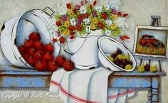 Stella Bruwer white enamel basin with figs, white enamel bucket with flowers, white enamel tub with pomegranates white towel with red stripe framed picture on rusty blue table Stella Art, Decoupage Printables, Bob Ross Paintings, Country Art, Country Kitchen, Flower Bird, Decoupage Paper, Kitchen Wall Art, Pictures To Paint