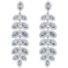 Swarovski Baron Silvertone and Pale Blue Crystal Drop Earrings Women's Blue Earrings, Crystal Earrings, Crystal Jewelry, Drop Earrings, Pierced Earrings, Leaf Jewelry, Body Jewelry, Jewelry Sets, Jewelry Accessories
