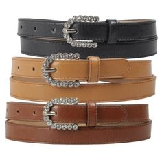 Hailey Jeans Co Womens Rhinestone Buckle Faux Leather Skinny Belt
