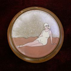 Sur La Plage - Early 1930's French Hand Painted Loose Powder Compact