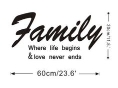 wall decals quotes --YYone® Original Quote Family Where Life Begins Quote Decor Sticker