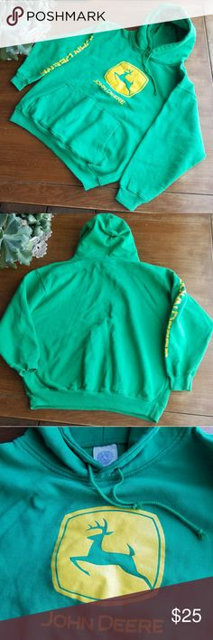 """John Deere pullover hoodie EUC,  John Deere hooded sweatshirt in cotton/poly blend. Size on tag is XL, but now fits more like a M-L. (Would work for a kids XL!) Bright green - actual color more like the first 2 photos. 25"""" from shoulder to hem, 24"""" from armpit to armpit. Earth Tones Trading/John Deere Shirts Sweatshirts & Hoodies"""
